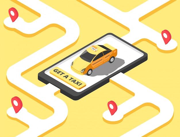 Isométrica taxi amarillo en el mapa