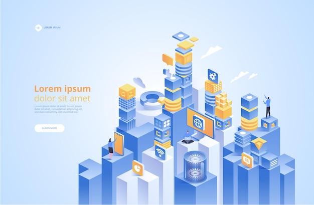 Isométrica de tecnología abstracta. concepto de gestión de redes de datos