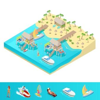 Isométrica vacaciones en la playa tropical.