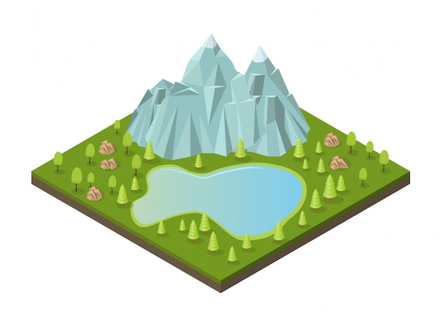 Isométricas montañas con lago y árboles.