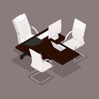 Isométrico 3d, amueblado en un estilo moderno, mobiliario de oficina, equipo informático.