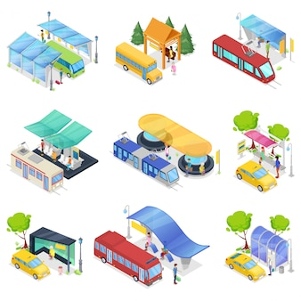 Isométrico 3d set transporte público de la ciudad