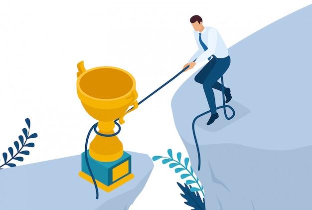 Isométrico alcanzar la meta de cualquier manera, obtener la victoria.