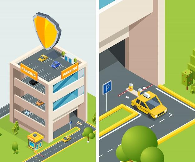 Isométrico de aparcamiento de varios niveles con varios coches