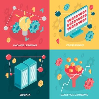 Isométrico de aprendizaje automático. computadora, pantalla, red, recinto, conceptual, iconos