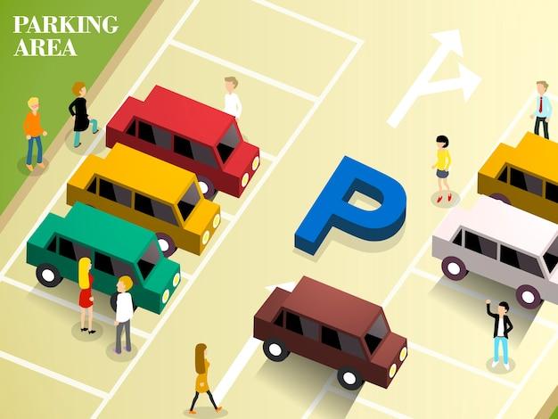 Isometrico del area de estacionamiento
