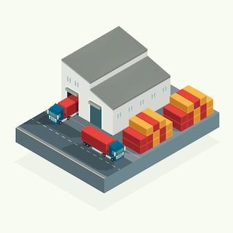 Isométrico, camión de logística de carga y contenedor de transporte en el patio de envío. ilustración vectorial