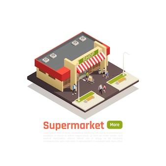 Isométrico centro comercial centro comercial concepto banner cuadrado pieza de tierra con tienda de construcción ilustración vectorial