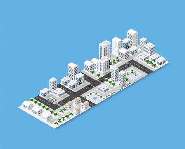 Isométrico de la ciudad moderna.