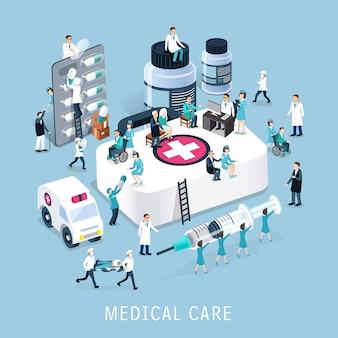 Isométrico del concepto de atención médica