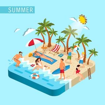 Isométrico del concepto de escena de playa de verano