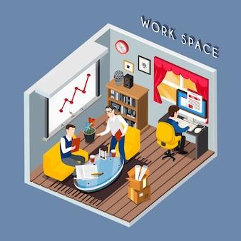 Isométrico del concepto de espacio de trabajo