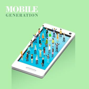 Isométrico del concepto de generación móvil.