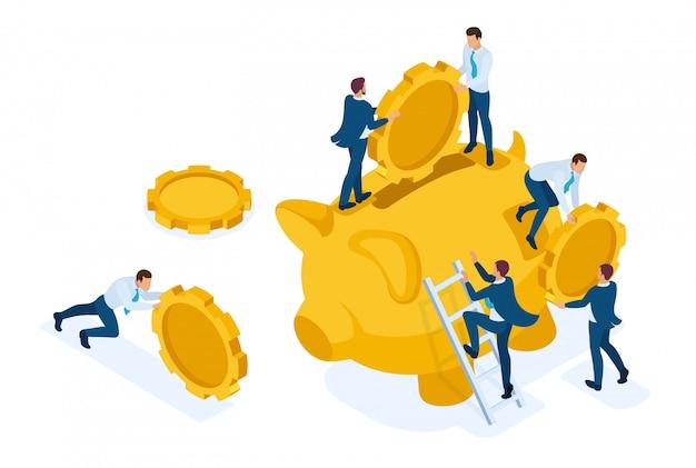 Isométrico el concepto de invertir en un depósito bancario, las personas pequeñas llevan dinero. concepto para diseño web