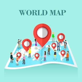 Isométrico del concepto de mapa del mundo