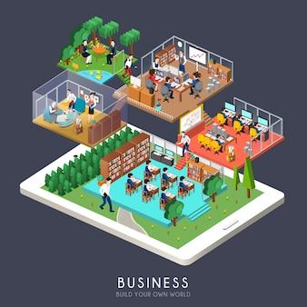 Isométrico del concepto de negocio