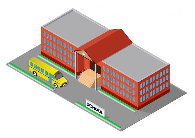 Isométrico edificio escolar rojo con autobús escolar