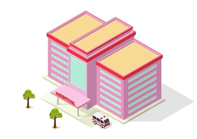 Isométrico edificio moderno hospital con ambulancia
