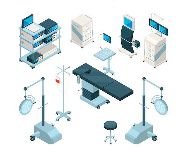 Isométrico de equipos médicos en quirófano.