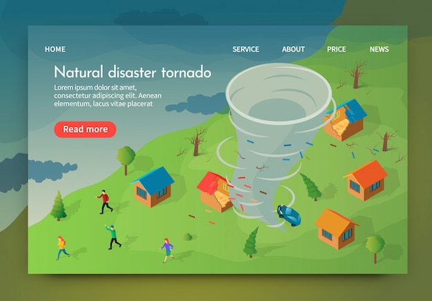 Isométrico es escrito tornado de desastres naturales.
