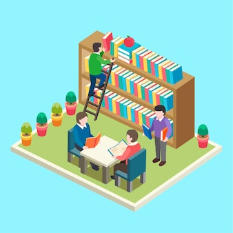 Isométrico de estudio en el concepto de biblioteca.