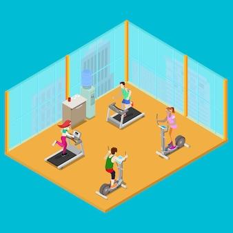 Isométrico fitness club con aparatos de entrenamiento y personas activas. estilo de vida saludable. ilustración vectorial