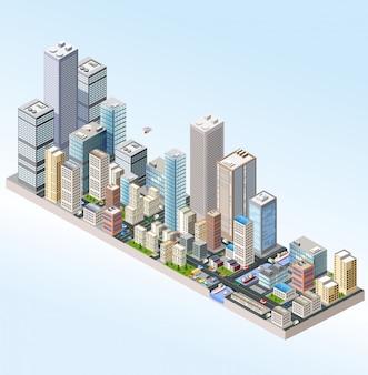 Isométrico en una gran ciudad con calles, rascacielos, autos y árboles.