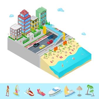 Isométrico hotel de playa con costa del mar y gente de natación activa.