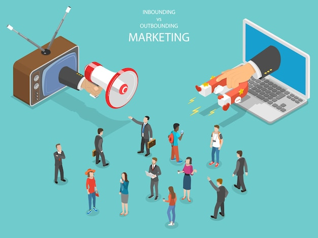 Isométrico de marketing entrante vs saliente
