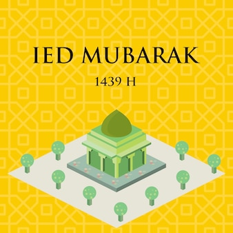Isométrico masjid vector.