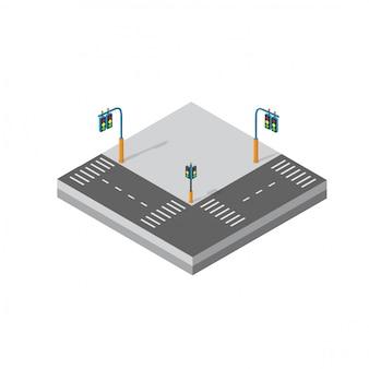 Isométrico módulo 3d del distrito del bloque