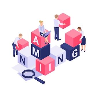 Isométrico con personas que construyen nombres de palabras a partir de bloques de colores ilustración 3d