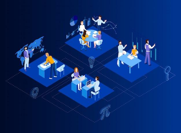 Isométrico plano 3d abstracto oficina piso interior departamentos concepto vector. sala de conferencias, oficinas, lugares de trabajo, director del interior de la oficina