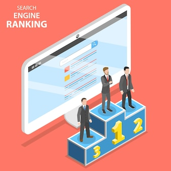 Isométrico plano del ranking del motor de búsqueda.