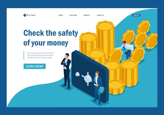 Isométrico proteja sus fondos de amenazas externas, robo