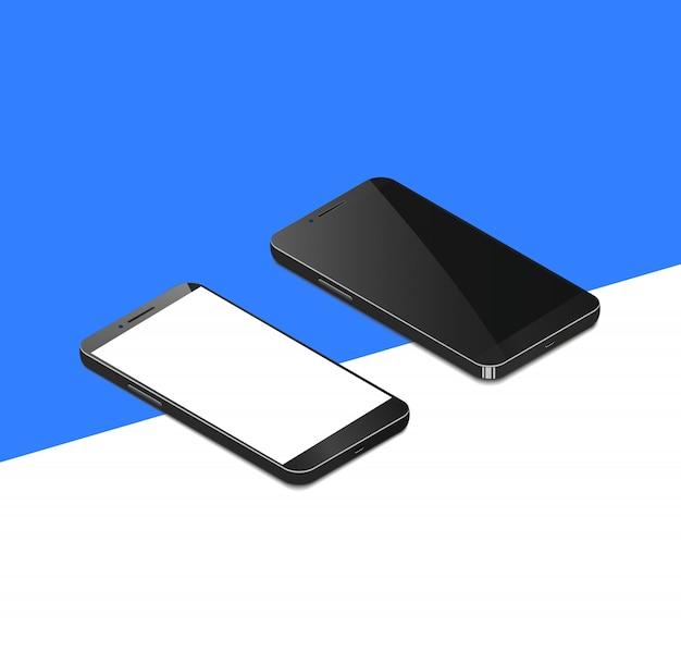Isométrico teléfono inteligente realista con vector de pantalla en blanco