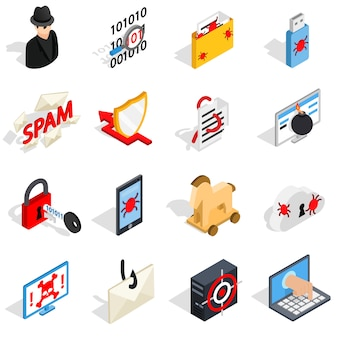 Isométricos 3d hacking iconos conjunto. íconos de piratería universales para usar en la interfaz de usuario web y móvil, conjunto de elementos básicos de piratería aislados ilustración vectorial