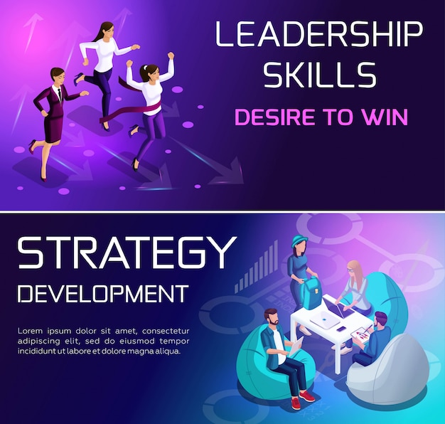 Isométricos conceptos vívidos de situaciones y estrategias para lograr objetivos, carrera y crecimiento profesional
