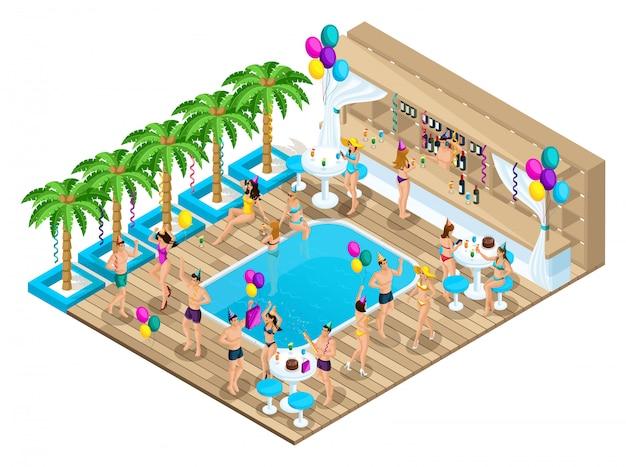 Isométricos de hombres y mujeres bailan, celebran un cumpleaños, ibiza, costa azul, países cálidos, gente rica, recreación, paquete turístico