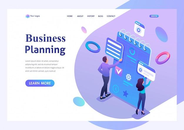 Isométricos jóvenes emprendedores participan en la preparación de la planificación comercial para el mes. página de inicio de plantilla para el sitio web
