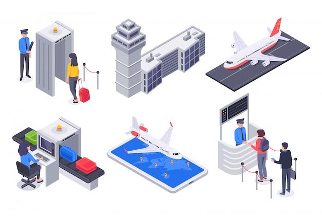 Isométricos pasajeros del aeropuerto. avión de vuelo de turismo, pasajero de negocios con conjunto de ilustración de maleta de equipaje de viaje