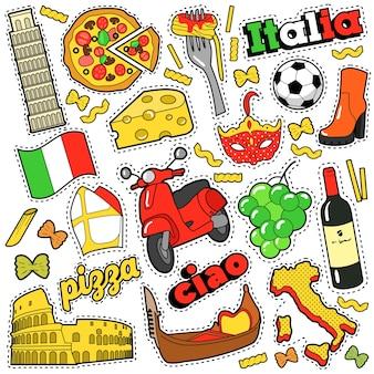 Italia travel scrapbook pegatinas, parches, insignias para impresiones con pizza, máscara veneciana, arquitectura y elementos italianos. doodle de estilo cómico
