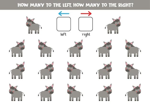 Izquierda o derecha con burro de dibujos animados lindo. juego educativo para aprender a diestra y siniestra.