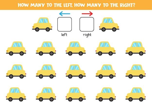 Izquierda o derecha con coche amarillo de dibujos animados. juego educativo para aprender a diestra y siniestra.