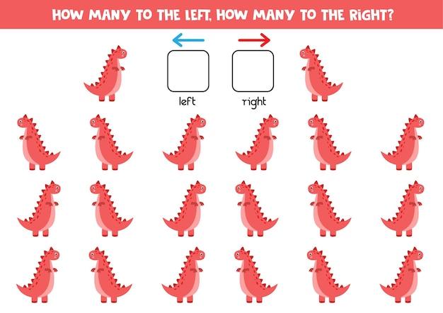 Izquierda o derecha con dinosaurio tiranosaurio de dibujos animados. juego educativo para aprender a diestra y siniestra.