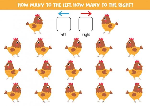 Izquierda o derecha con gallina de dibujos animados lindo. juego educativo.