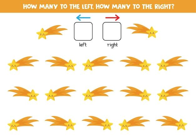Izquierda o derecha con linda estrella fugaz de dibujos animados. juego educativo para aprender a diestra y siniestra.