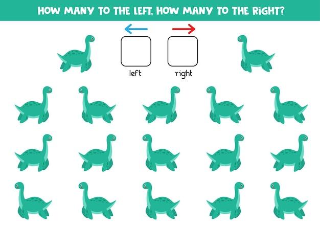 Izquierda o derecha con plesiosaurio de dinosaurio de dibujos animados. juego educativo para aprender a diestra y siniestra.