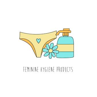 Jabón para bragas de higiene íntima y manzanilla en estilo handdrawn en blanco