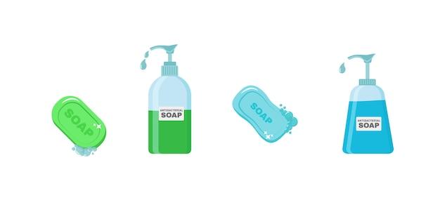 Jabón, gel antiséptico y otros productos higiénicos. el aerosol antiséptico en frasco mata las bacterias. conjunto de iconos de higiene. concepto antibacteriano. alcohol líquido, botella de spray con bomba.